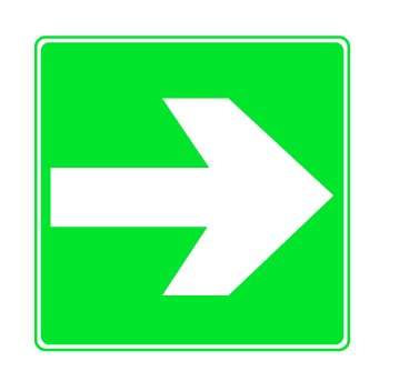 Rettungszeichen Richtungspfeil für Rettung